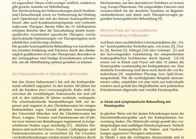 Artikel: Homöopathie und Biologische Krebsbehandlung in der Praxis