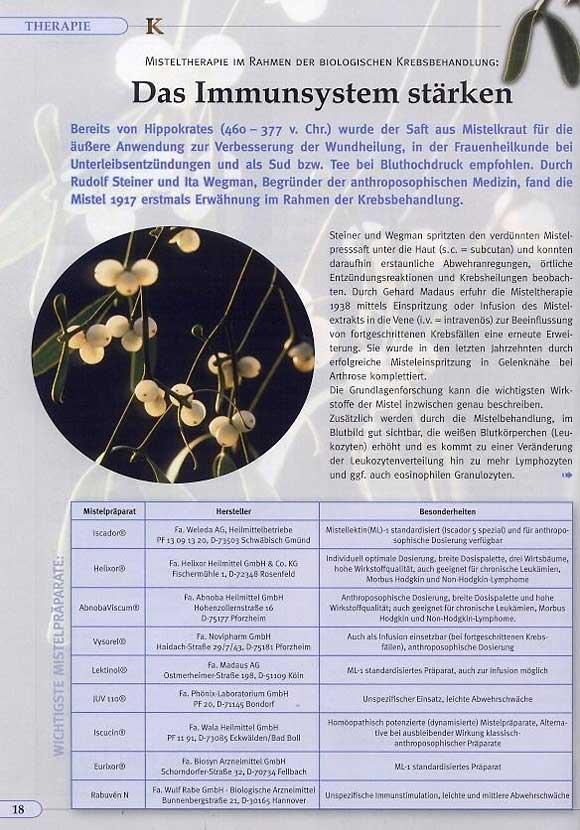 Artikel: Misteltherapie im Rahmen der Biologischen Krebsbehandlung - Das Immunsystem stärken, Seite 1