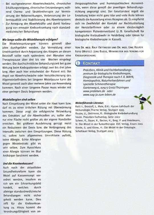 Artikel: Misteltherapie im Rahmen der Biologischen Krebsbehandlung - Das Immunsystem stärken, Seite 4