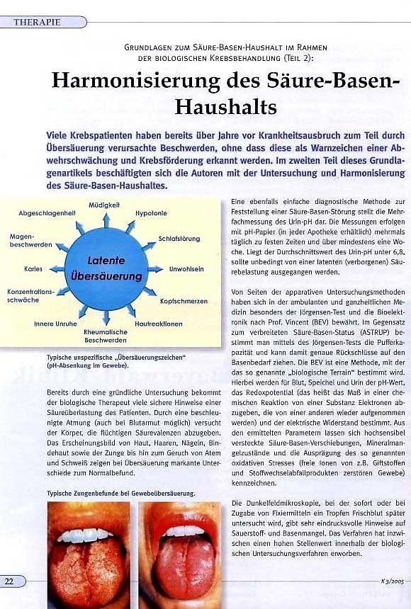 Artikel: Harmonisierung des Säure-Basen-Haushalts