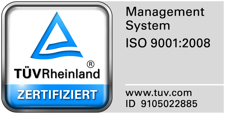 TÜV Rheinland certificated Management System according ISO 9001:2008