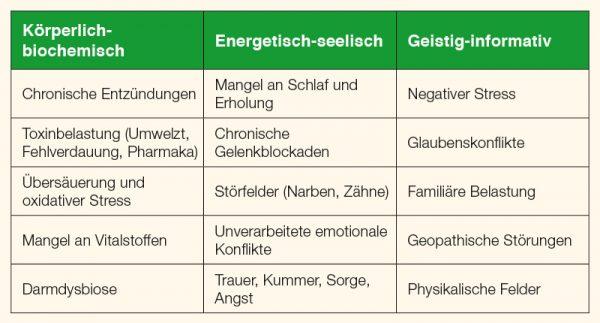 Beispiele von Abwehr-hemmenden Einflüssen in den drei Ebenen des Organismus.