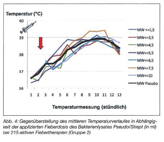 Aktive Fiebertherapie Pseudo vs Serra Mittlerer Temperaturverlauf Bakterienlysat Pseudo