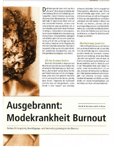 Modekrankheit Burnout Artikel