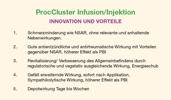 Vorteile von ProcCluster im Vergleich zur Procain-Basen-Infusion