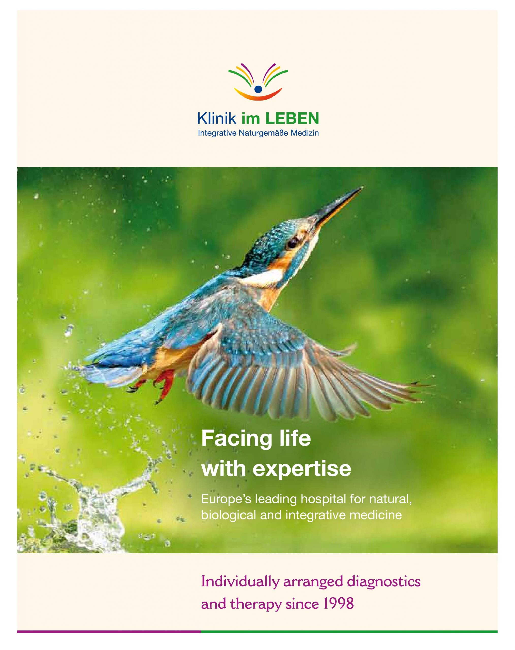front page of the clinic brochure Klinik im Leben for biological, alternative medicine