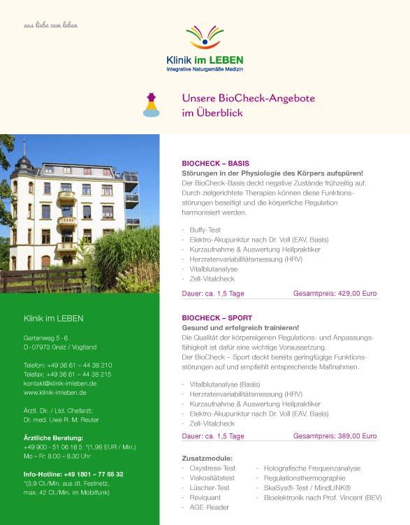 Einleger Angebotsübersicht Biocheck Klinik im LEBEN